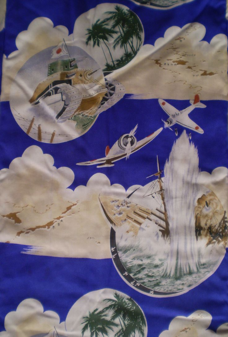 Boy's kimono detail showing the aerial bombing and sinking of the USS Arizona, Pearl Harbor.