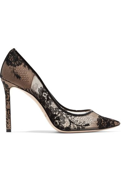 Jimmy Choo | Romy leather-trimmed lace pumps | NET-A-PORTER.COM