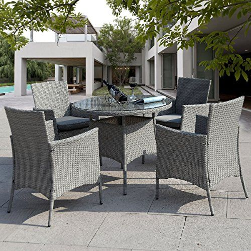 Giantex 5 Pc Patio Rattan Furniture Set Outdoor Backyard Dining Table and 4 Chairs Gray - Check this out at... http://outdoorlivingandpatioessentials.com/patio-furniture-sets/giantex-5-pc-patio-rattan-furniture-set-outdoor-backyard-dining-table-and-4-chairs-gray/