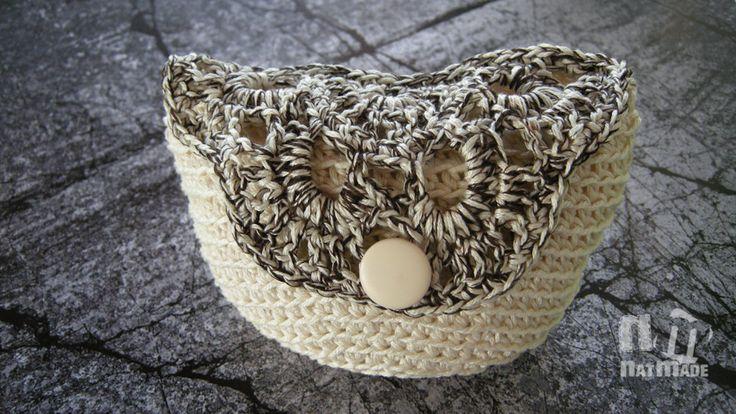Crochet clutch, purse, handmade crocheted cream and brown clutch, purse, handmade crocheted cosmetic makeup bag by NatmadeCrafts on Etsy