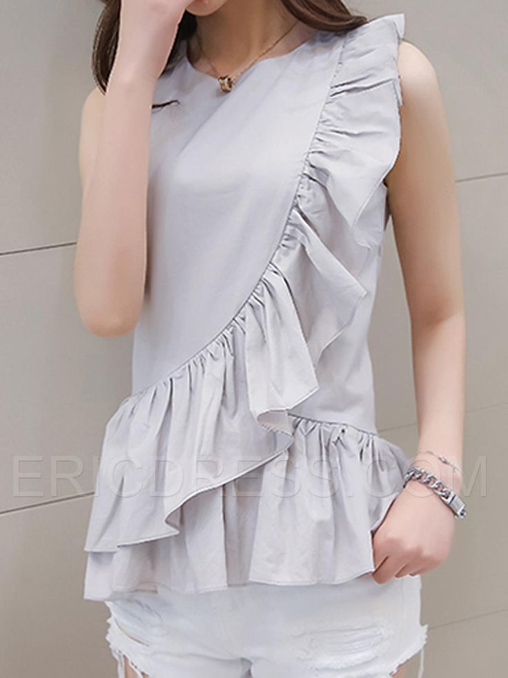 Ericdress Slim Asymmetric Pleated Frill Blouse Blouses
