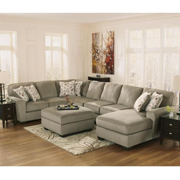 Patola Park 4-Piece Sectional And Ottoman In Patina