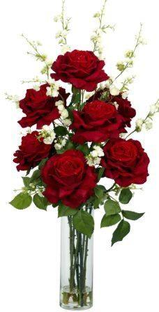 Roses & Cherry Blossoms Silk Flower Arrangement
