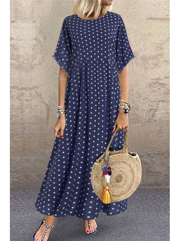Casual Fashion Round Neck Short Sleeve Polka Dot Dresses – richhopshop.com