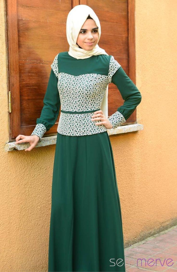 Tesettür Elbise Koyu Yeşil #sefamerve #tesettur #tesetturgiyim #elbise#yenisezon #2014 #Hijabdress #Hijab #newseason