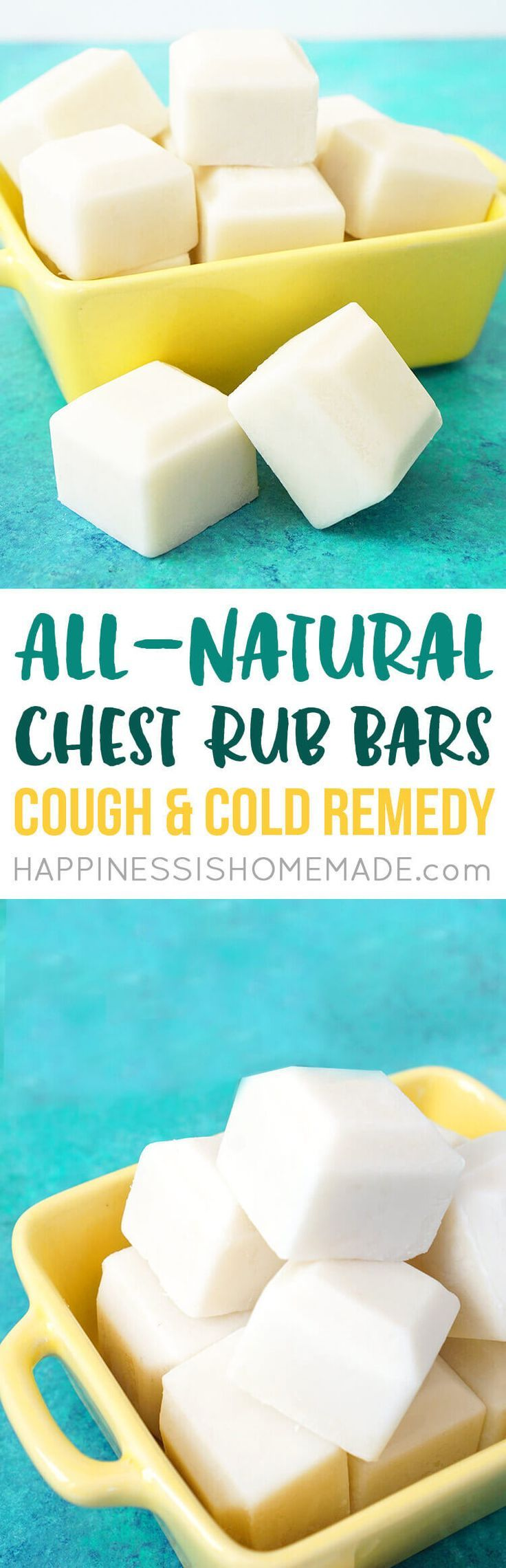 All-Natural Chest Rub Bars: Cough & Cold Remedy -These DIY chest rub bars are a healthy homemade cold remedy for coughing and congestion. Made with all-natural and non-toxic ingredients including shea butter, coconut oil, beeswax, and essential oils, thes