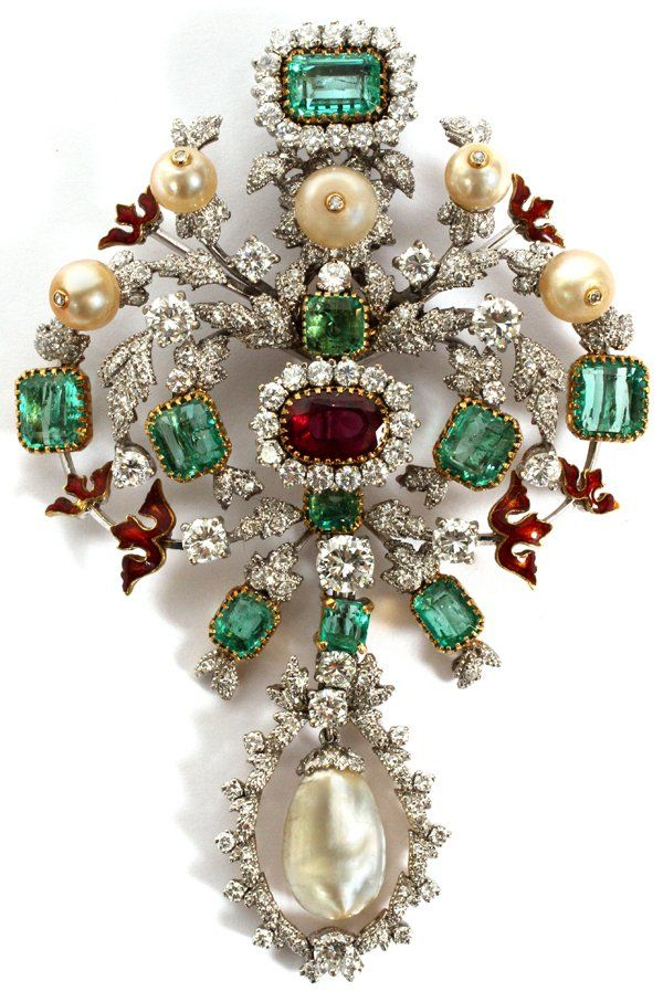 Lot: ANTIQUE GOLD RUBY EMERALD DIAMOND & PEARL BROOCH, Lot Number: 122202, Starting Bid: $16,000, Auctioneer: DuMouchelles, Auction: Fine Arts, Jewelry and Antique Funiture, Date: December 18th, 2016 GMT