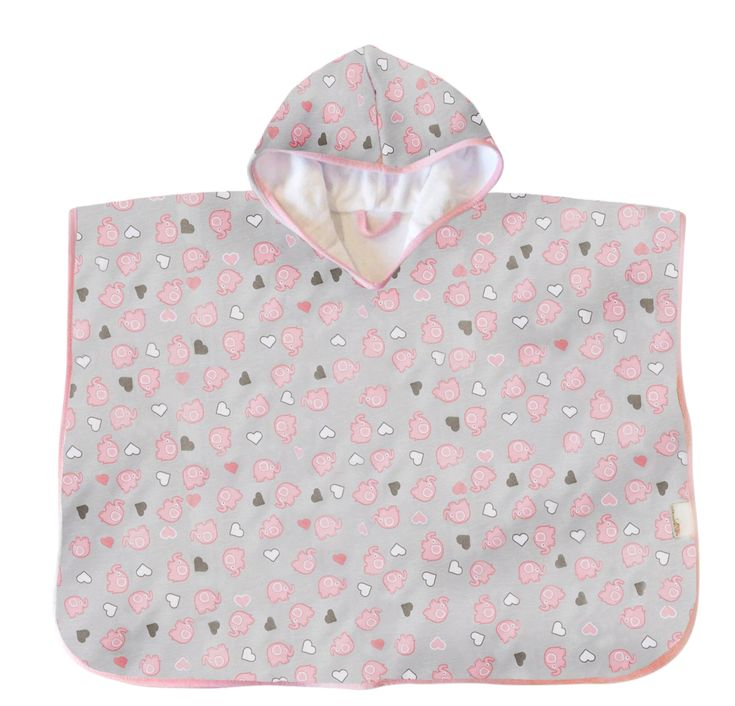 Hooded Poncho Pink Elephant Size 1-3 Years This cute bath poncho features an all-over pink elephant print design and is perfect for bath time, swimming lessons and covering up on the beach!   Make it personalised by adding name embroidery! #babyswimming #beachbaby #bathtime #babytowel #poncho