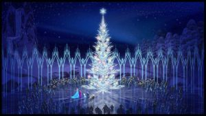 Arendelle Christmas Tree and ice Visual Development Art by Disney Artists for Olaf's Frozen Adventure