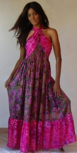 OLIVE PINK DRESS HALTER RUFFLED TWIST BATIK – « Dress Adds Everyday