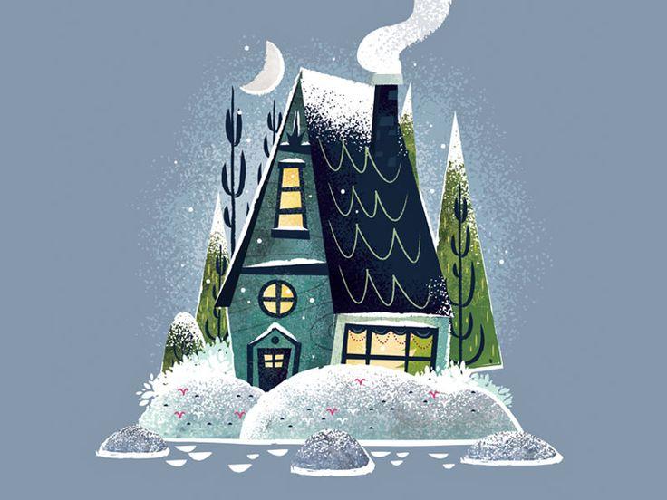 Snowy Cottage by Adam Grason #Design Popular #Dribbble #shots