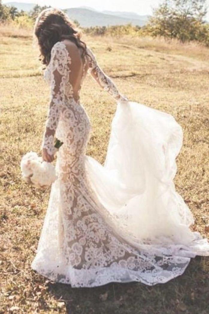 Ivory Wedding Dress Ivoryweddingdress Long Sleeves Wedding Dress Longsleevesweddingdress Ap Backless Lace Wedding Dress Ball Gowns Wedding Backless Wedding