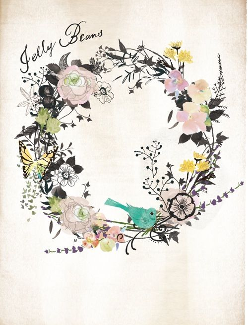 I like this floral, muted colored look. Maybe a little too busy for mine, I can't really see where the words would go inside the wreath. But it's still pretty.