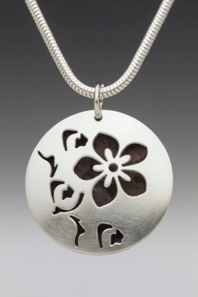 Domed Hollow Round Cherry Blossom Necklace