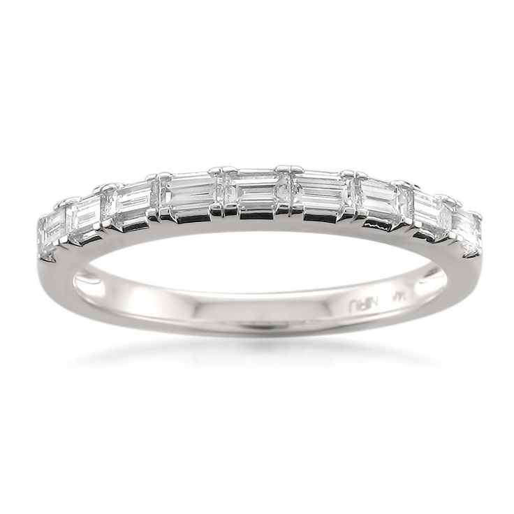 Montebello 14k Gold 1/2ct TDW Baguette-cut White Diamond Wedding Band (G-H, VS1-VS2) (White Size 7), Women's