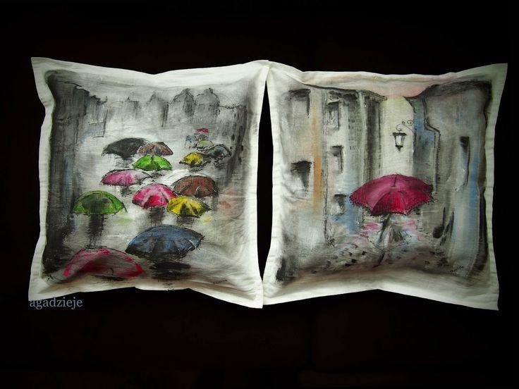 agadzieje: Malowanie na dzianinie cz.3 poszewki na jaśki ( sowy, parasoli i łapacz snów )