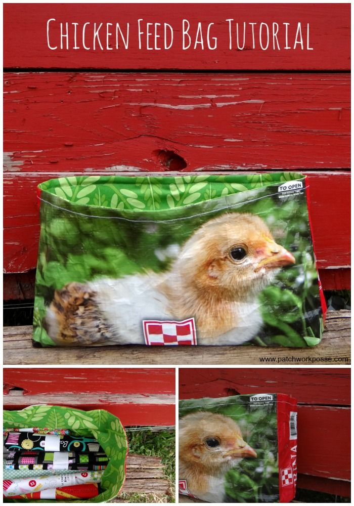 make a bag with a chicken feed sack-- love this idea! perfect for those cute bags.