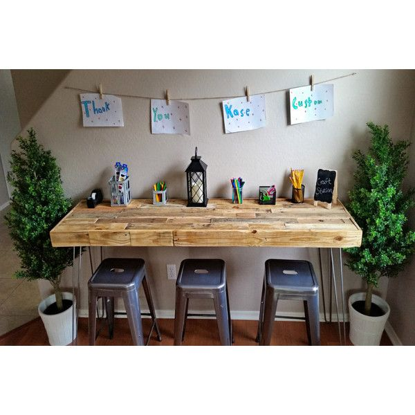 Reclaimed Wood Custom Craft Table Work Bench Kids Art Bar Office... ($360) ❤ liked on Polyvore featuring black, desks, furniture, home & living and office furniture