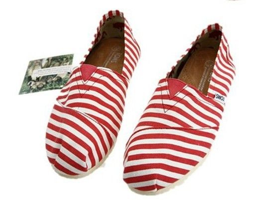 Toms Classic Shoes Mens Red Zebra Stripe Canvas : Toms Outlet Online