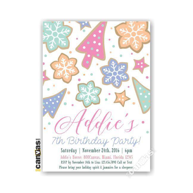 Christmas Birthday Invitation, Girls Slumber Party, Cookie Invitations, Sleepover Party Invite, Girls Holiday Party, Christmas Birthday 76 by 800Canvas on Etsy