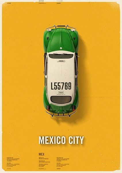 Mexico Cab #design #graphicdesign #poster #illustration: Posters Series, Citycab Posters, Mexico Cities, Cities Taxi, Mehmet Gözetlik, Posters Design, Graphics Design, Fashion Blog, Cities Cab
