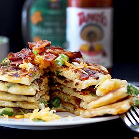 Savory bacon, cheddar, and green onion pancakes - never thought I would go for savoury pancakes, but these sound amazing!