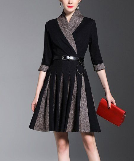 Vicky and Lucas Black & Gray Contrast-Panel Belted A-Line Dress | zulily