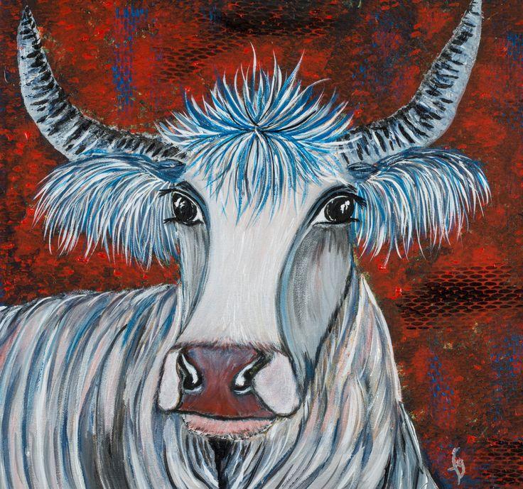 Les 25 meilleures id es concernant la peinture de vache for Peinture argentee murale