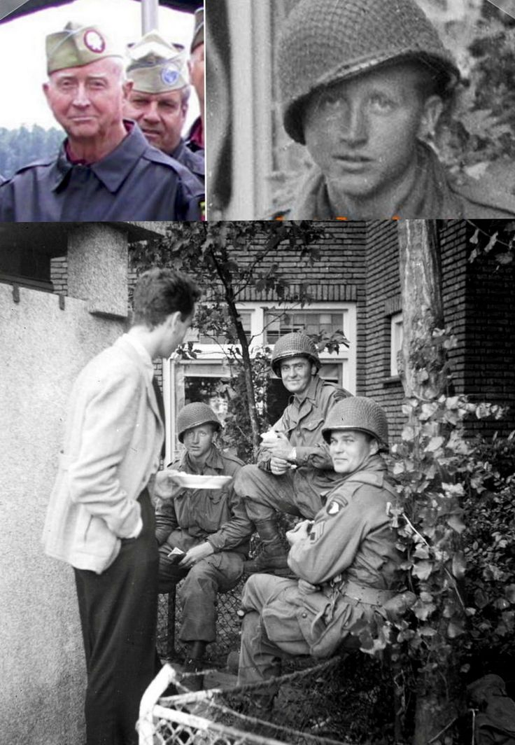 """Eugene E. Gilbreath We  Tom Peeters is credit, for identifying PFC Eugene Elbert """"Gene"""" Gilbreath of the 506th Parachute Infantry Regiment. he can be seen relaxing with his 2nd Battalion HQ-Company buddies on the day their regiment captured Eindhoven; September 18th 1944. """"Now-""""photo taken in Nijmegen in 2009 when Gene visited Holland."""