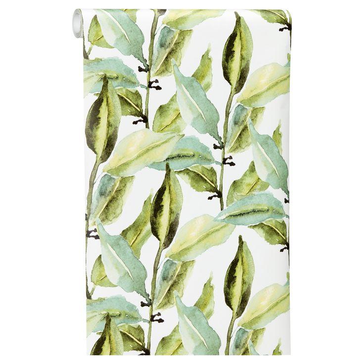 Sfeervol behang met botanische prints. Kleur: groen. #behang #botanisch #behangen #kwantumbelgie #opdemuur #muur #muurdecoratie