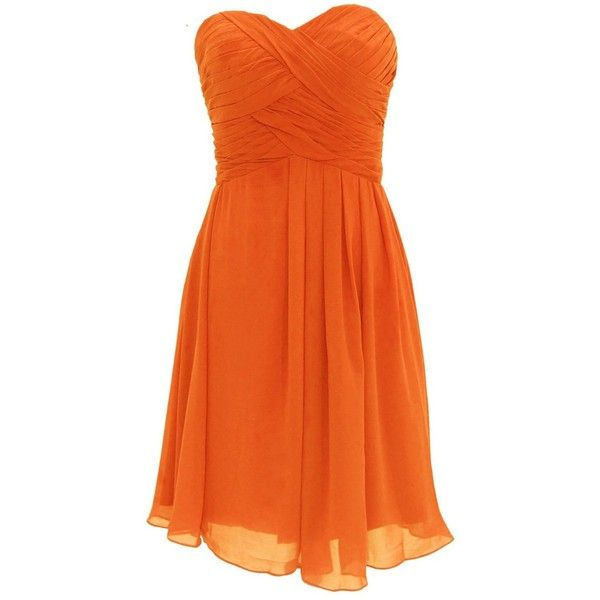 Dressystar Women's Short Dress ($79) ❤ liked on Polyvore featuring dresses, lullabies, orange mini dress, short orange dress, short dresses, orange dress and mini dress