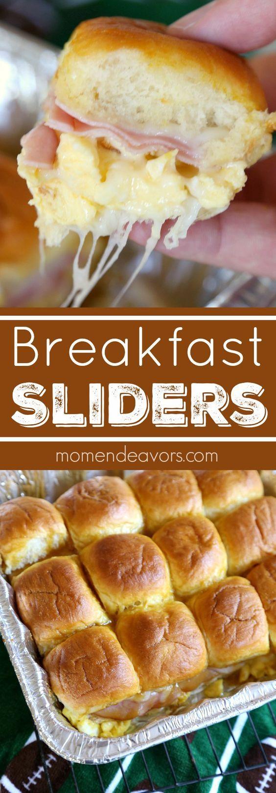 Ham, Egg, & Cheese Breakfast Sliders  - perfect for gameday breakfast tailgates!