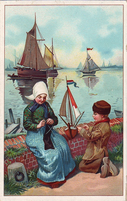 chromo cacao francken dutch people series boy with yacht and girl knitting
