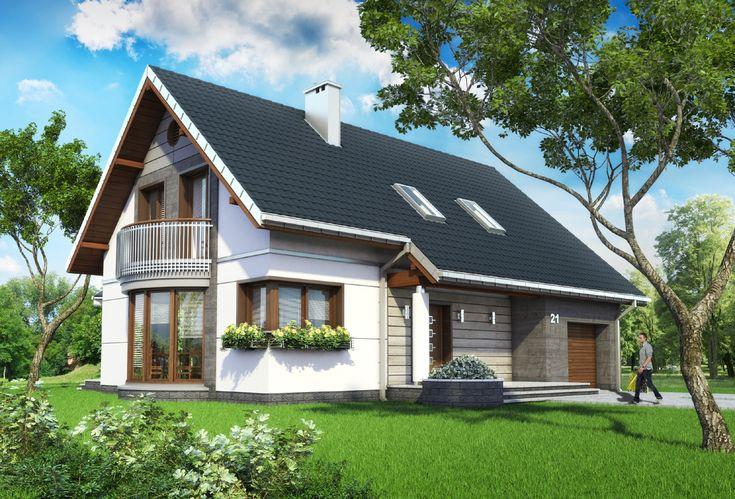 Projekt domu Alba - funkcjonalny dom, z przeszkloną jadalnią i dużym salonem silikaty - Archeton.pl