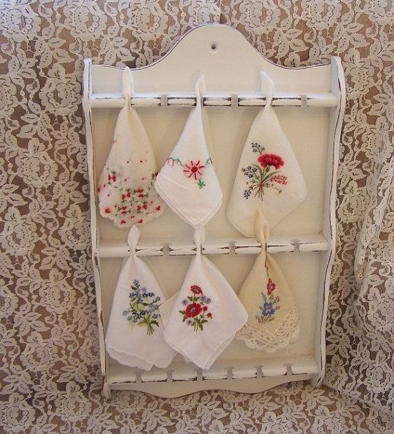 COTTAGE CHIC Vintage Display Cabinet and Embroidered Handkerchief Collection