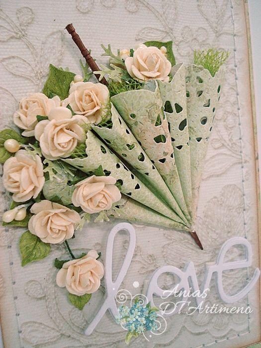 Для новогодних, открытка зонт с цветами