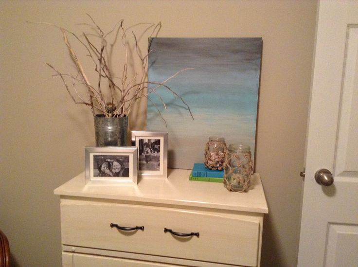 DIY Wall Art. Beach theme ombré painting on canvas.
