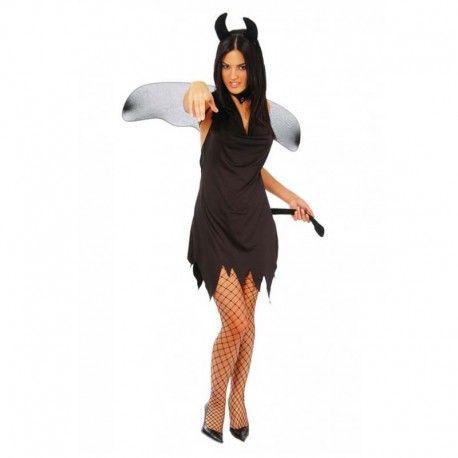 Disfraces Halloween mujer | Disfraz de diablesa negra. Contiene vestido con rabo demoniaco, diadema con cuernos y alas.Talla M. 16,95€ #diabla #diablesa #disfrazdiabla #disfrazdiablesa #disfraz #halloween #disfrazhalloween #disfraces