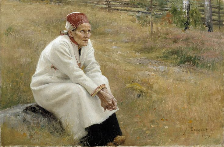 """Albert Edelfelt - Larin Paraske, 1893- Larin Paraske (December 27, 1833–January 3, 1904) was an Izhorian oral poet. She is considered a key figure in Finnish folk poetry and has been called the """"Finnish Mnemosyne"""". Her frequent listeners included several romantic nationalist artists, such as Jean Sibelius, seeking inspiration from her interpretations of Kalevala. - Finland"""