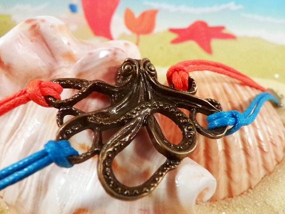 I love him. :-) Octopus Sea Bracelet  Orange & Blue Wax Cotton by @ZodiacGirls, $6.49