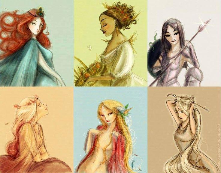Hera,Deméter,Atena,Persefone,Afrodite e Ártemis