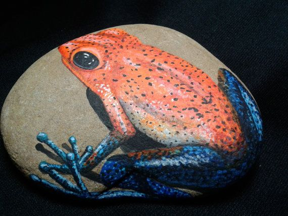 Hand Painted River Rock with any type FROG / Stone Paintings / Acrylics / Paper Weights / deck decor/ Garden stone on Etsy on Etsy, $69.00
