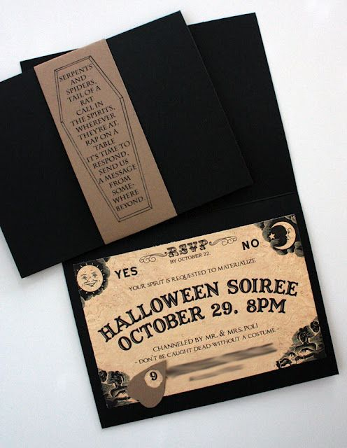 Ouija Inspired Invitation: Ghost hunting or not, this invitation implies candles and ghost stories. Basically the stuff Halloween is made of.