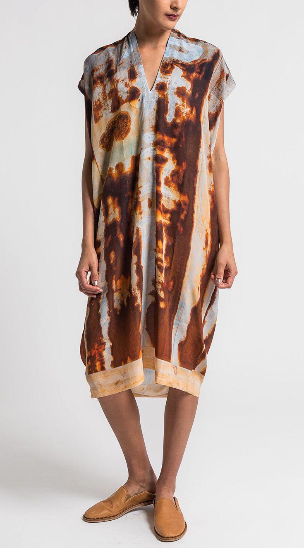 $515.00   Anntian Silk V-Neck Dress in Rust   Santa Fe Dry Goods & Workshop #ann…