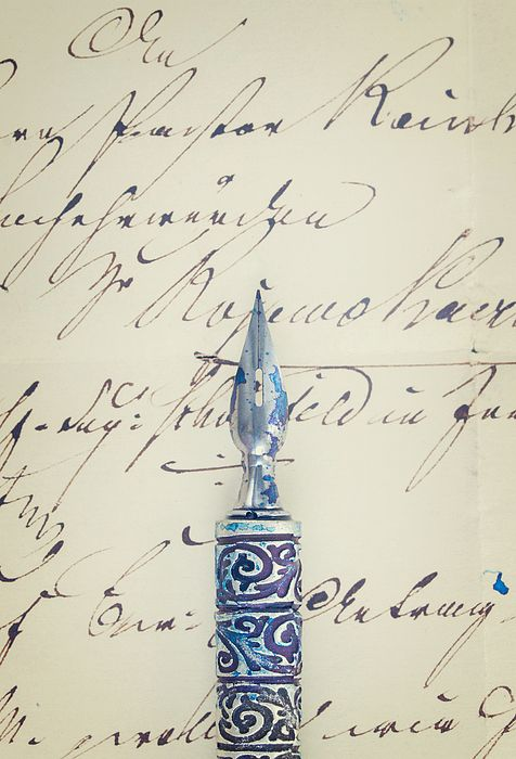 Old feather pen on handwritten letter background close up by Anastasy Yarmolovich #AnastasyYarmolovichFineArtPhotography  #ArtForHome #vintage