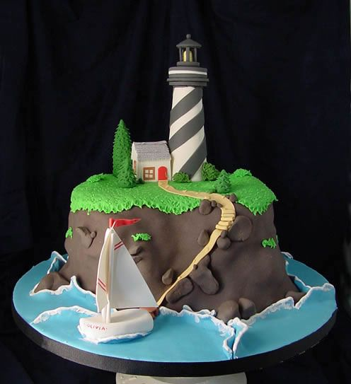 pinterest lighthouse cake | howsweetbakery.com