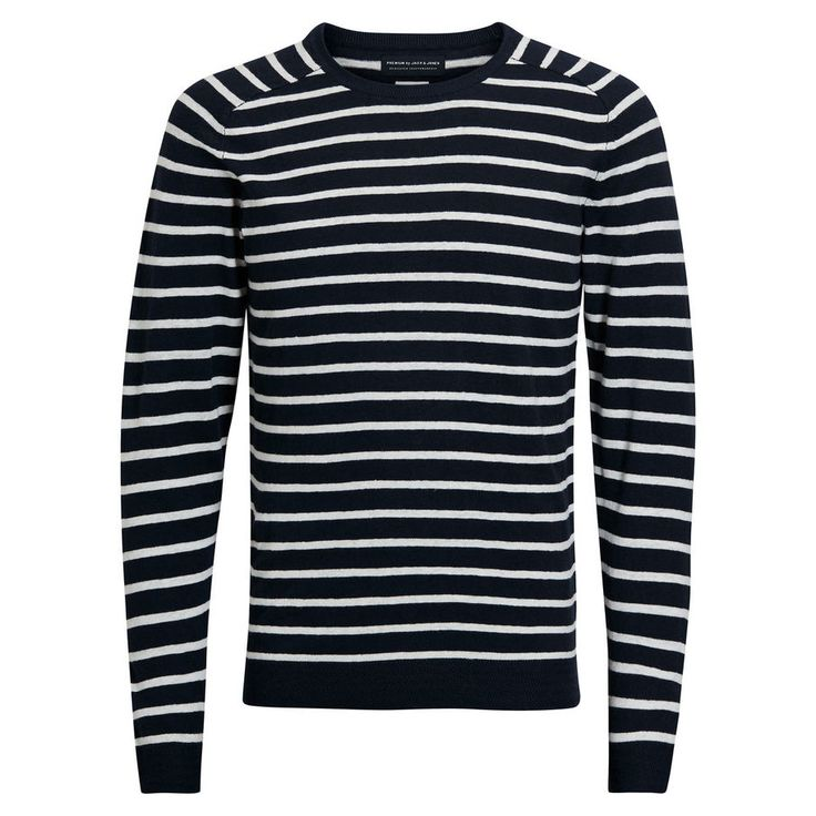 Lightweight knit, black and white stripes, long sleeves and crew neck | JACK  &