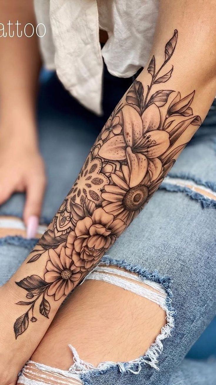 200 fotos de tatuagens femininas no braço para inspiração – fotos e tatuagens   – Tattoo ideen