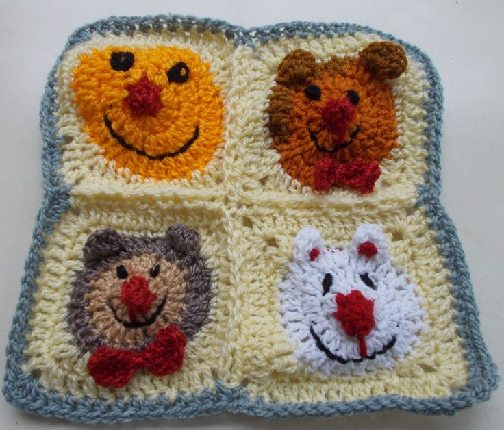 FREE pattern at http://shyamanivas.blogspot.in/2015/03/really-cute-animal-granny-squares.html