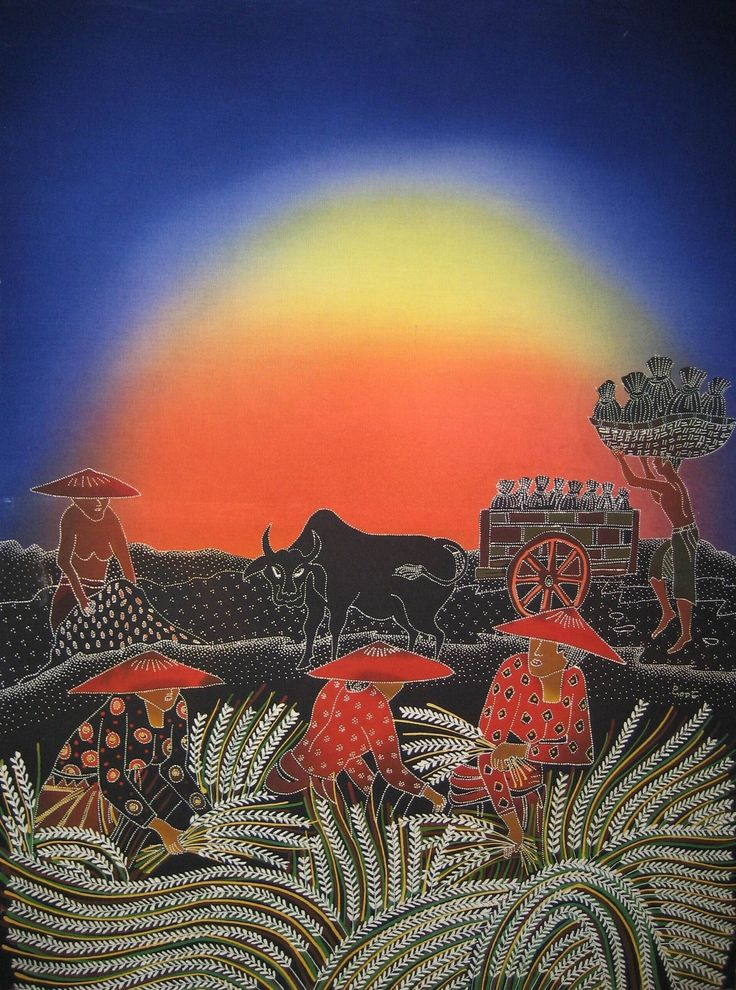 Modern batik painting depicting a rice crop, multicolor by Ciptoning, Indonesia. Museon, CC BY